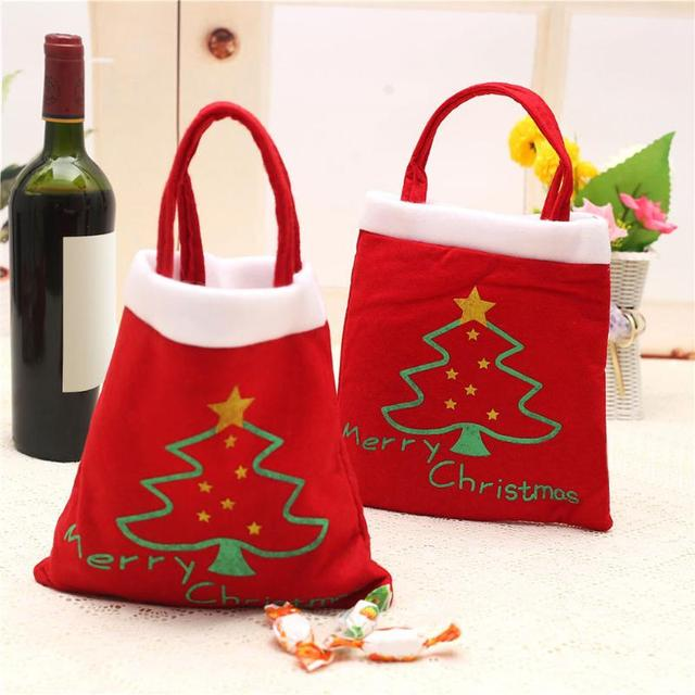 5 Pcs Merry Christmas Red Candy Bag Tree Print Pouch Home Party Decor Gift