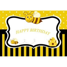 Laeacco Bee Baby Birthday Party Black Stripes Poster Portrait Photographic Backgrounds Photo Backdrops Photocall Photo Studio laeacco photographic backgrounds mask ribbons birthday party celebration baby newborn photo backdrops photocall photo studio