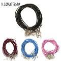 10 unids/lote Caliente Real Collar De Cuero con Metal Corchete de la Langosta de 2mm Collar de Cordón de Cuero Ajustable Negro 9 Colores para recoger