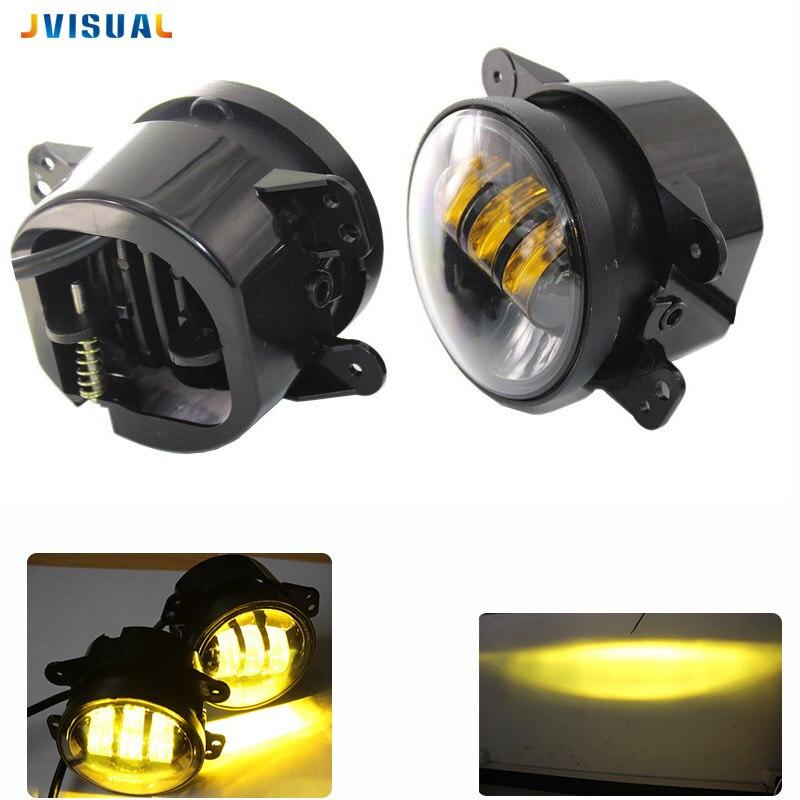 Pair 4 Inch 30W 6000K Round Led Fog Lights Projector Driving Fog Lamps Amber/Yellow For Jeep Wrangler JK TJ LJ Dodge Journey