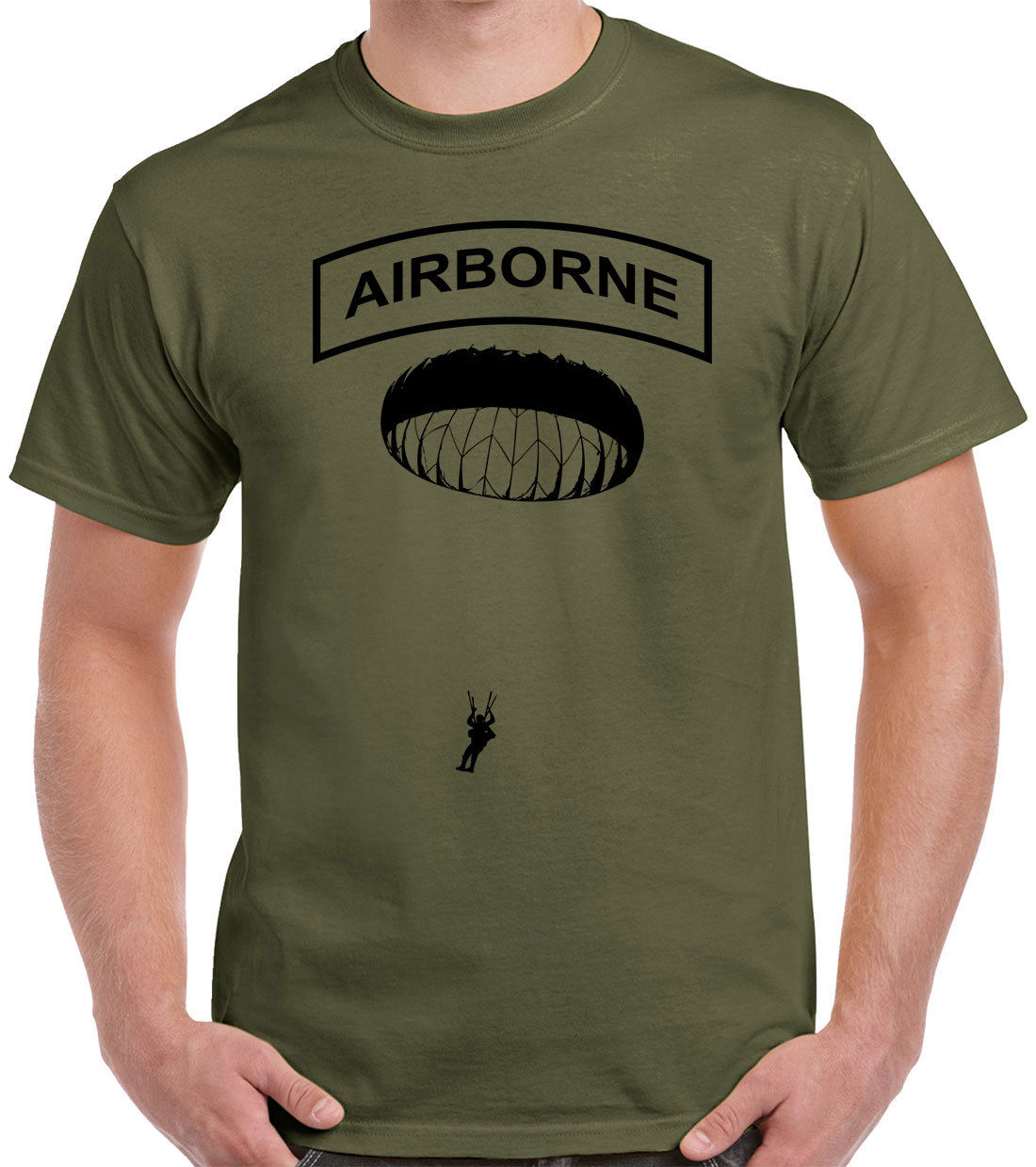 Airborne T-Shirt Black Ink Paratrooper 82nd Fashion Casual Print T Shirt Human Race Hip Hop Clothing Cotton Short Sleeve T Shirt