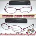 Óptico por encargo lente óptica aleación de titanio semi llanta purple red Oval marco mujeres miopía gafas - 1 - 1.5 - 2 - 2.5 - 3 - 3.5 to-6