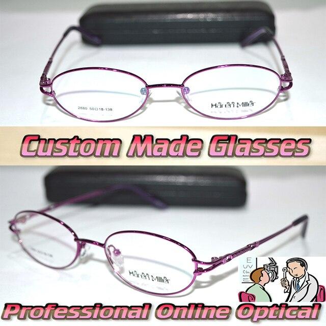 Оптическая на заказ оптических линз титановый сплав half-диска фиолетовый красный овал кадр женщины близорукости очки - 1 - 1.5 - 2 - 2.5 - 3 - 3.5 to-6