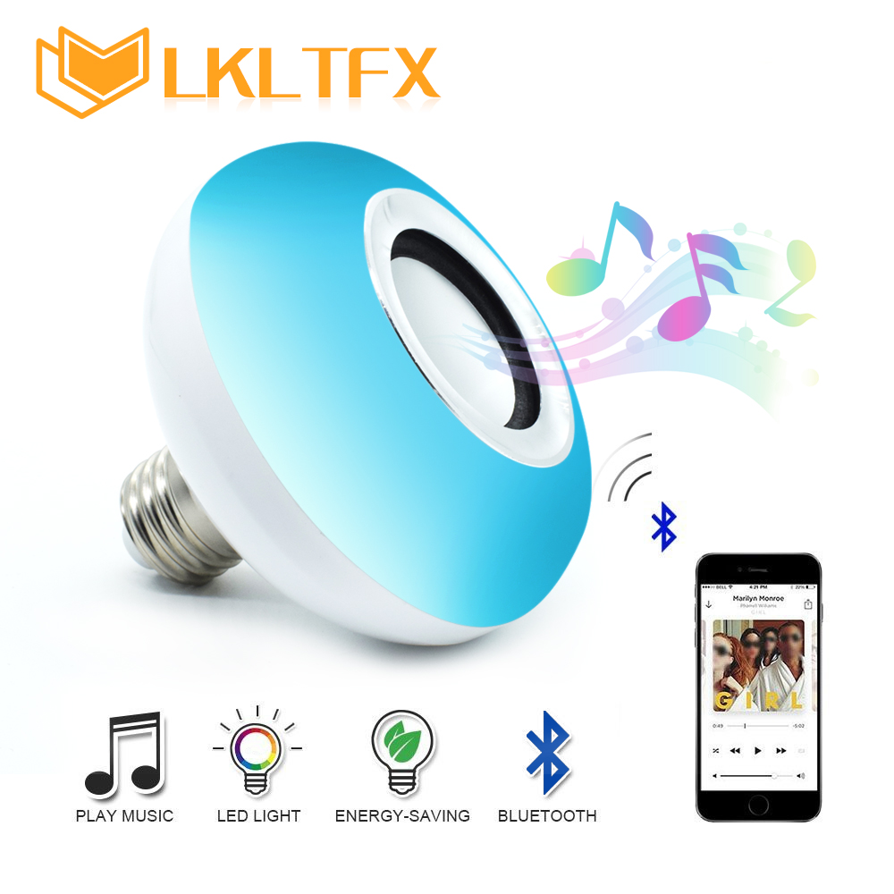 LKLTFX E27 Wireless Bluetooth Speaker Music Playing Dimmable LED 12W RGB Bulb Lamp AC 110V 220V Smart Led Light