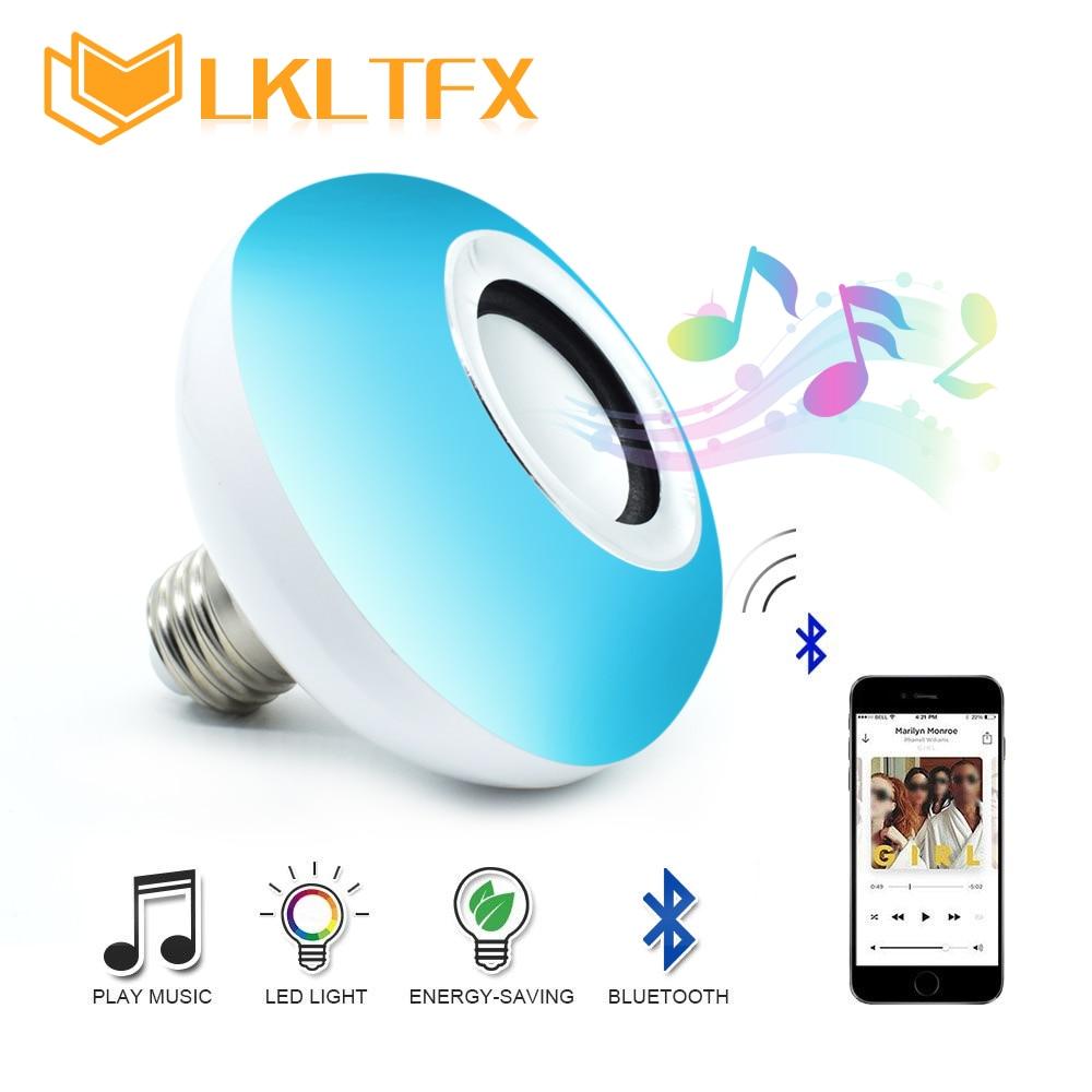 LKLTFX E27 Wireless Bluetooth Speaker Music Playing Dimmable LED 12W RGB Bulb Lamp AC 110V 220V Smart Led Light