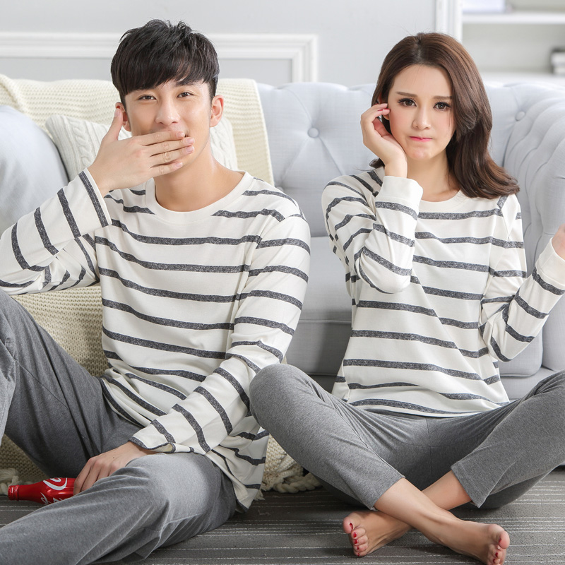 Spring and autumn lovers sleepwear 100% cotton long-sleeve stripe sleepwear female set a ...