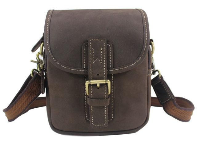 Retro Vintage Crazy Horse Leather Messenger Bag Men Genuine leather  Crossbody Bag small shoulder bag for man Casual Bag Brown