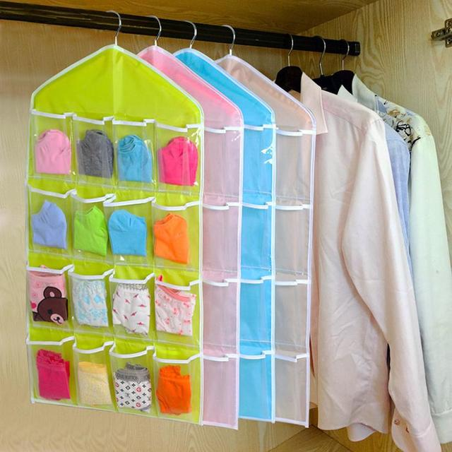 2017 16Pockets Clear Hanging Bag Socks Bra Underwear Rack Hanger Storage Organizer 629