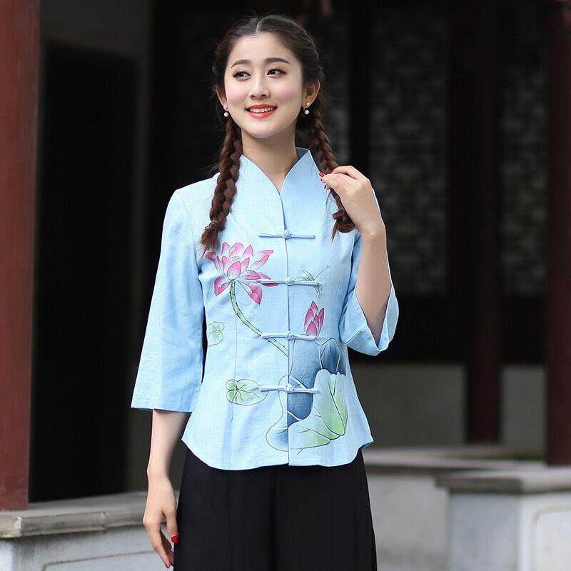 Nueva Llegada de Algodón de Las Mujeres Camisa de Lino superior Señoras Del Esti