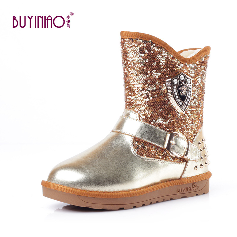 ФОТО 2016 New Luxury Design Winter Boots Buckled Women Snow Boots Glitter Sequined Cloth Mid-calf Boots Genuine Leather Botas Mujer