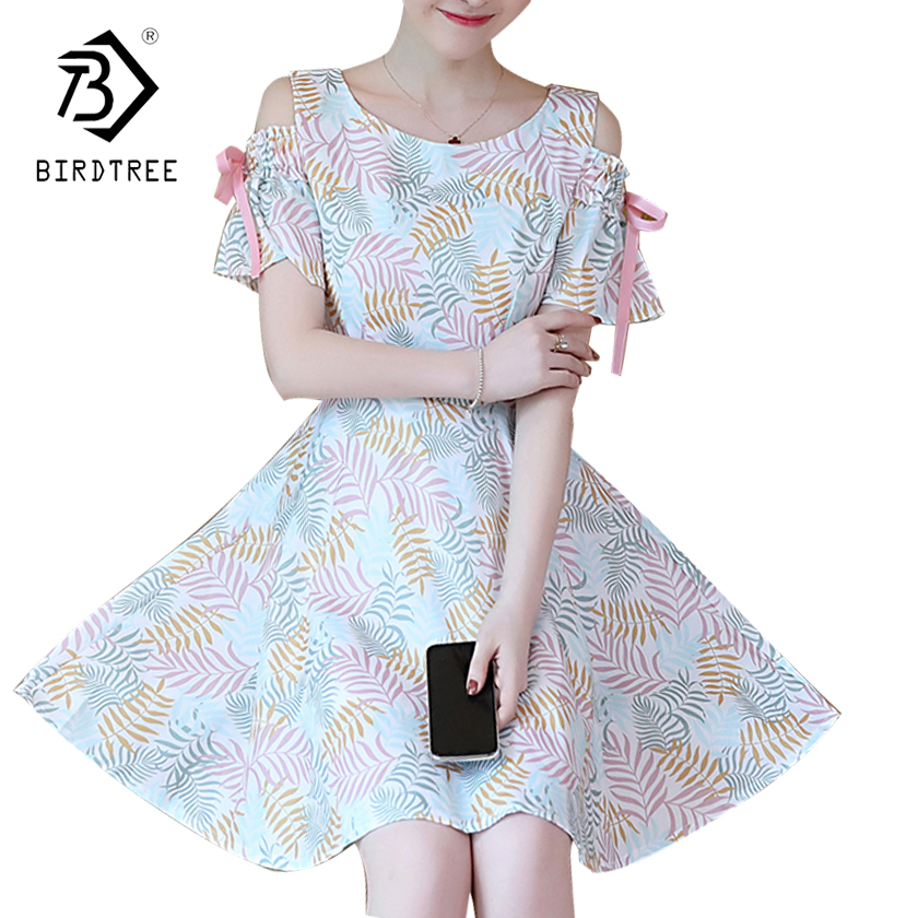 2018 Summer New Arrival Women Dresses Elegance Girls Sweet Print Mini Dresses O-Collar Slim Empire Short Sleeve Hots D85414L