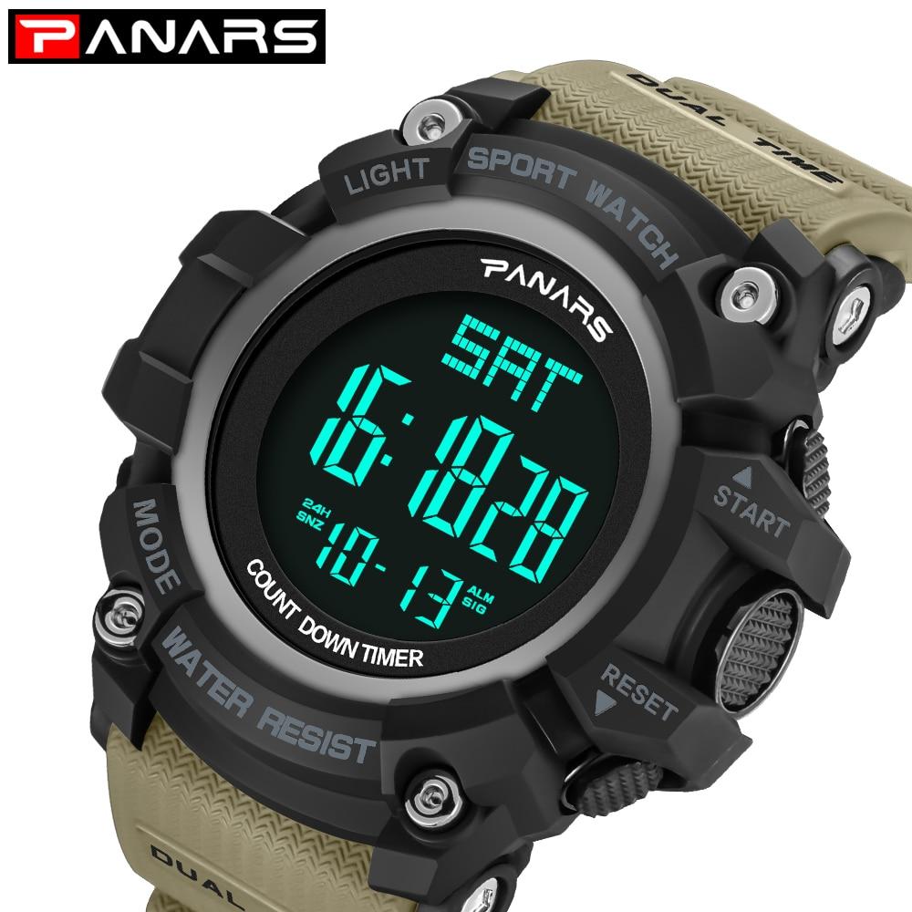 Digitale Uhren Uhren Trendmarkierung Panars Männer Sport Uhren Countdown Stoppuhr Alarm 50 M Wasserdichte Uhr G Led Shock Digitale Armbanduhren Relogio Masculino