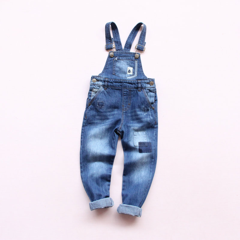 2018 New Spring Baby Boys Girls Denim Overalls Jeans Kids Denim Jumpsuit Child Spring Autumn Long Pants High Quality Jeans japan style brand mens straight denim cargo pants biker jeans men baggy loose blue jeans with side pockets plus size 40 42 44 46