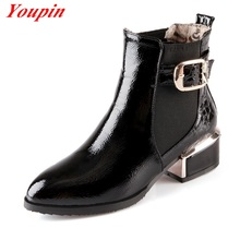 Sequins Patent Leather Ankle Boots Women Shoes 2015 Autumn Winter Casual Boots Thick Wth Martin Boots