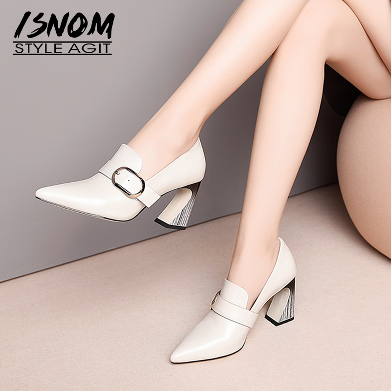 ISNOM Unusual High Heels Women Pumps Pointed Toe Footwear Genuine Leather Ladies Shoes Fashion Shoes Woman