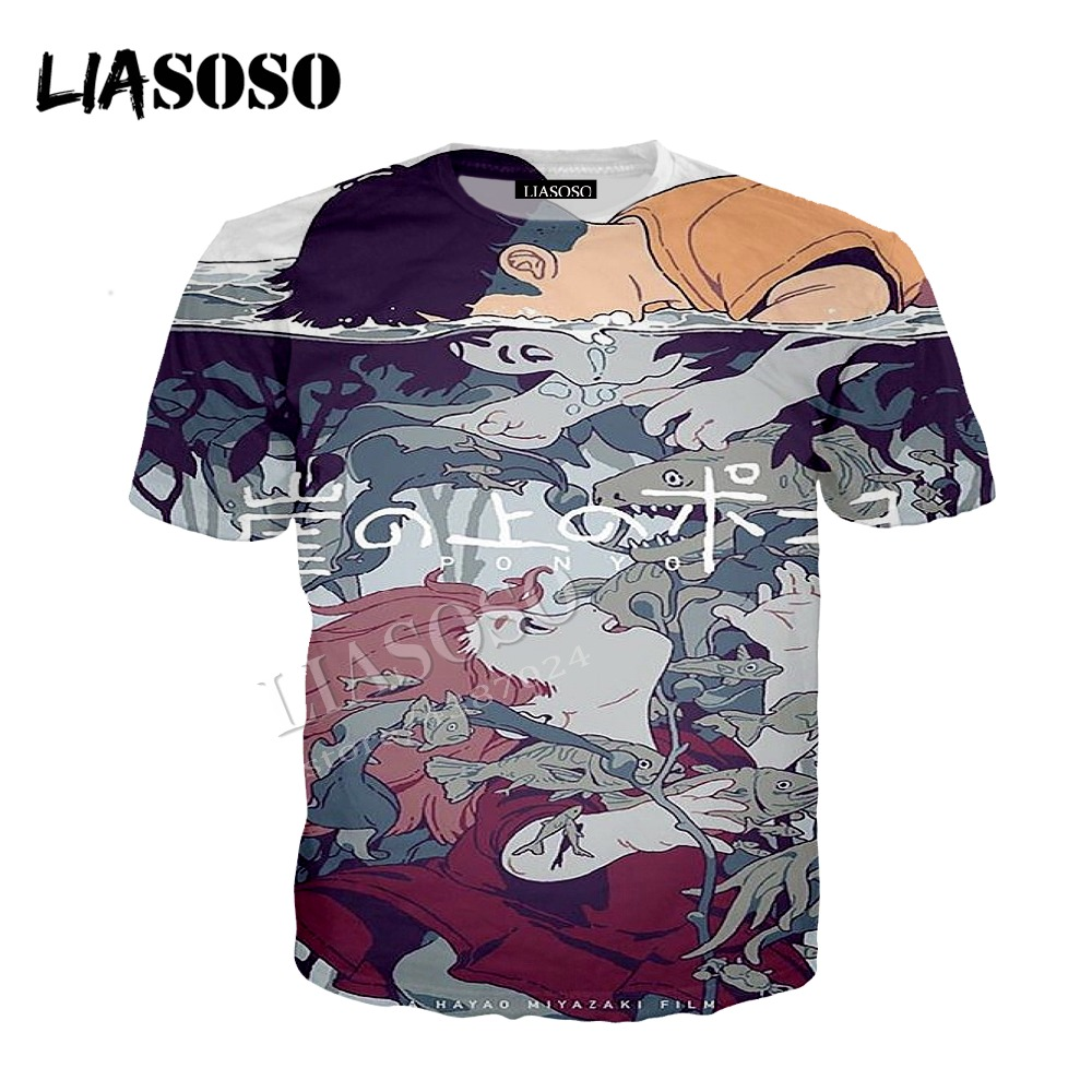 LIASOSO latest 3D printing polyester zipper hoodie Japanese anime Hayao Miyazaki Goldfish on the cliff men women sportswear C337