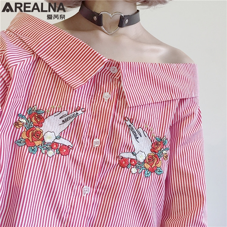 fashion women slash neck fresh floral finger embroidery long sleeve stripe shirt women tops ladies match all sweet blouse blusas
