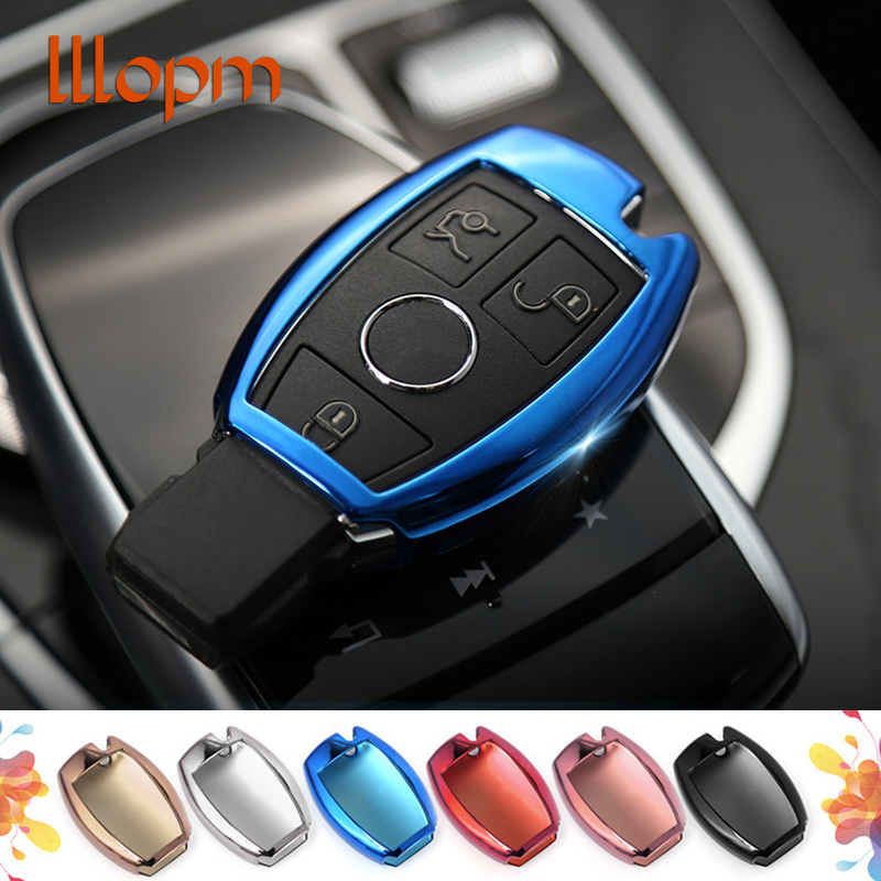 2018 NEW Car Key Cover Case Shell Bag Protective Key Ring Chain Car styling For Mercedes Benz C Class W205 GLC Car Accessories