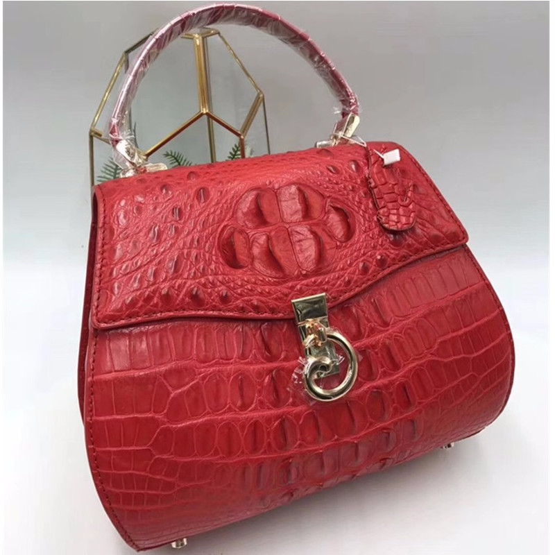 Luxury Famous Designer Genuine Crocodile Skin Exotic Alligator Leather Ladies Saddle Handbag Female Orange Shoulder Bag