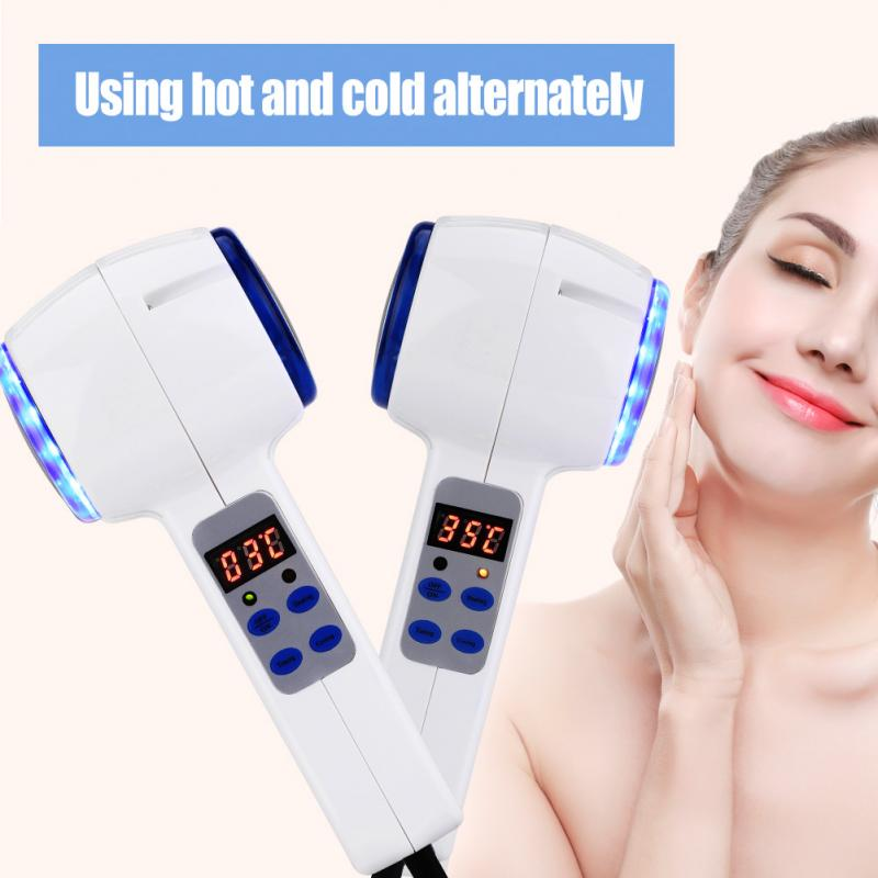 Face Care Device Hot Cold Hammer Facial Skin Tighten Ultrasonic Cryotherapy Blue Photon Acne Treatment Skin Beauty Massager usb cold hot beauty machine ultrasonic skin care device for pore contraction beauty tools