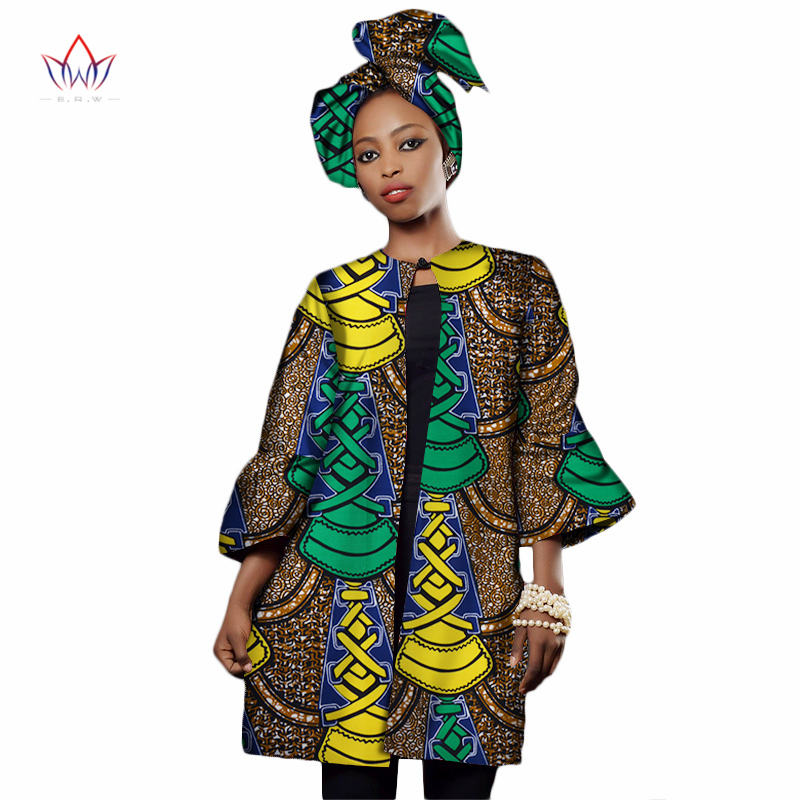 2018 fall fashion women African Clothing Dashiki Three Quarter Sleeve   trench   coat for women Plus Size africa clothes XL WY2322