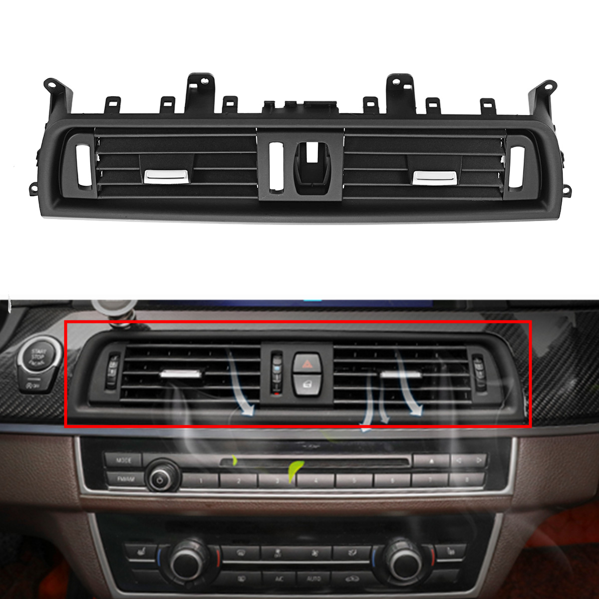 Car Plastic Front Console Grill Dash AC Air Vent Black Fit for BMW 5 Series 520 523 525 528 530 2010-2016 64229166885
