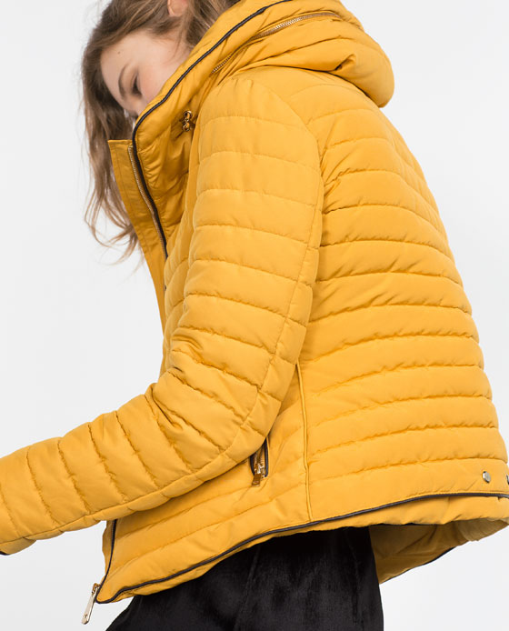 ZA 2015 Winter New Women YELLOW Stand Fur Collar Slim Anorak with ...