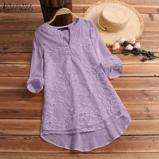 2020 Cotton Linen Tops Women Blouse Elegant V Neck Long Sleeve Shirt Casual Autumn Lace Shirts Vintage Embroidery Blusas