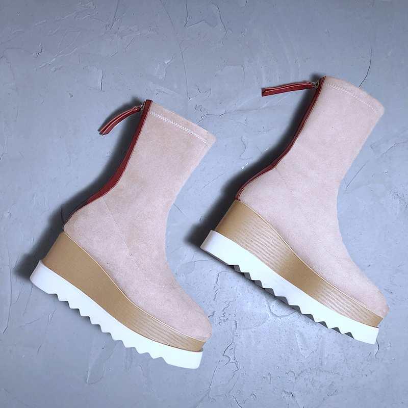 Maceta de cuero genuino material de terciopelo estiramiento ocio casual estilo europeo vintage superestrella invierno botas L92-in Botas a media pierna from zapatos    2