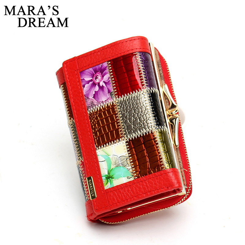 Mara's Dream Fashion Genuine Leather Women Short Wallets Small Wallet Coin Pocket Card Holders Wallet Female Purses Money Bag vintage genuine real leather women short wallets small wallet coin pocket card holder female purses money bag qb8019