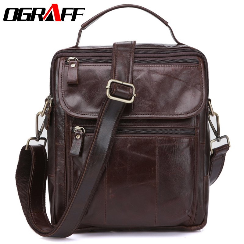 OGRAFF Genuine Leather men Bag Messenger Bags male Designer Handbags Famous Brand Briefcases Crossbody Men Leather