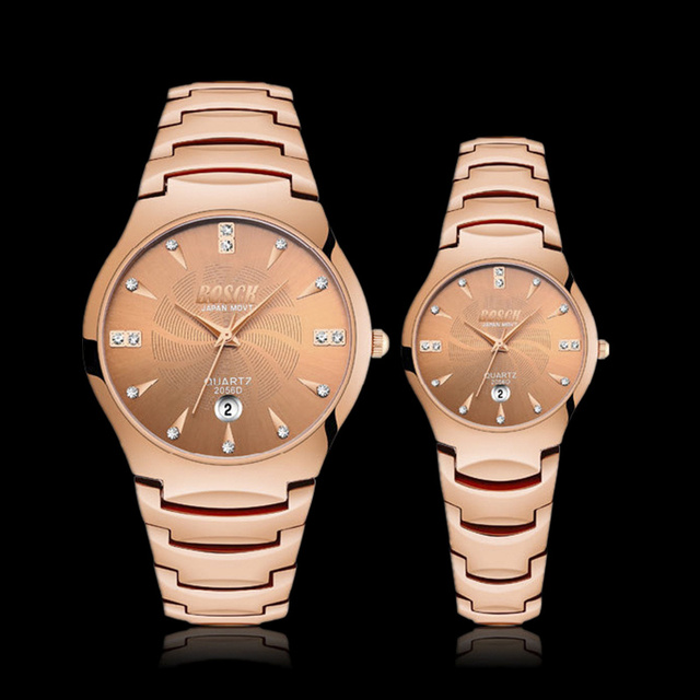 BOSCK Rose Gold Couples Watch Women Men Top Brand Luxury Stainless Steel Watches