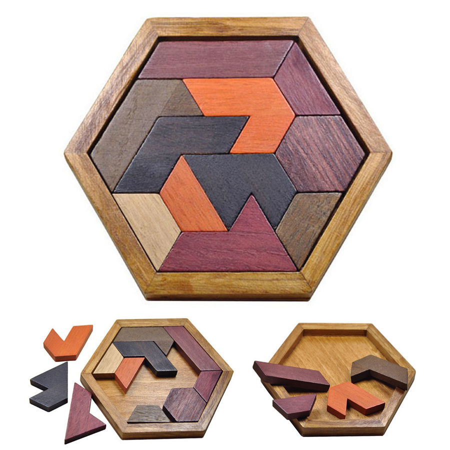 Montessori Wooden Tangram Jigsaw Board Educational Early Learning Wood Puzzles Game Toys for Children Kids Gifts DS19 plywood