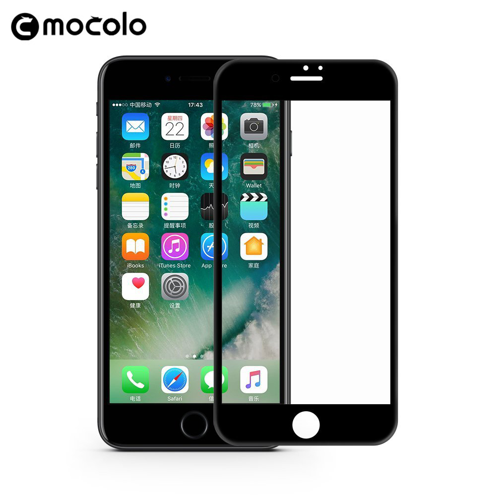 Mocolo New 3D Curved Premium Screen Protector Tempered Glass for <font><b>iPhone</b></font> 8 3D Screen Protector for <font><b>iPhone</b></font> 8 Plus Glass Film