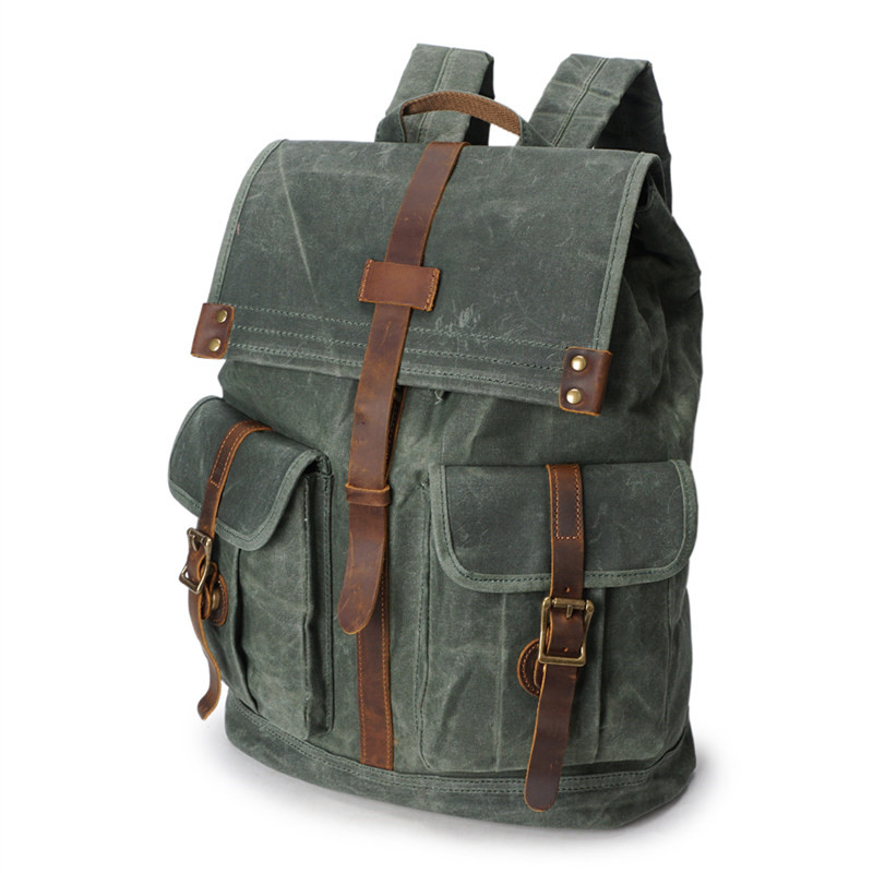 Nesitu Vintage Waterproof Large Capacity Grey Cyan Army Green Canvas 14'' Laptop Women Men's Backpack Men Travel Bags #M5252