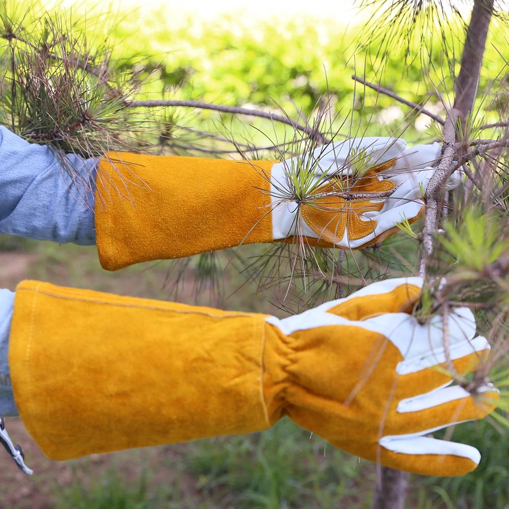 Image 2 - Summer Gardening Rose Pruning Gloves Cowhide Leather & Split Leather Safety Gloves Women and Men Welding Glove HY040safety gloves leatherindustrial safety glovessafety gloves -