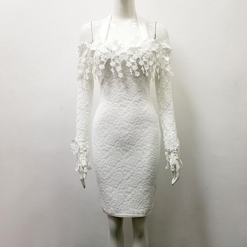 White Off Shoulder Pencil Dress