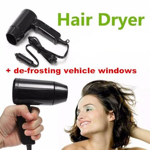 12v 180W  in car hair dryer black compact traveling festival camping portable caravan + defrost fog/ice window folding handle  200w auto car portable heater fan dryer defrost black 12v