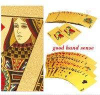 Cool Golden Playing Cards Deck Gold Foil Poker Set Magic Card 24K Gold Plastic Foil Poker