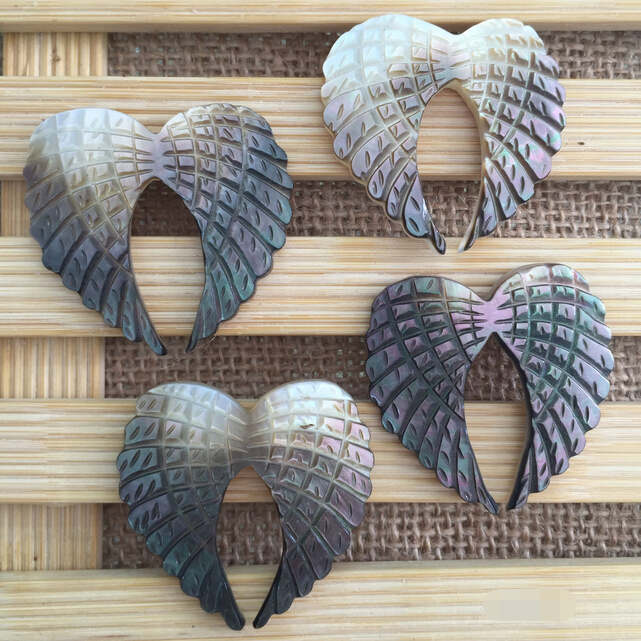 Mother Of Pearl Left Angel Wing Decor: 30pcs/lot 40mm Black Natural Angel Wing Mother Of Pearl