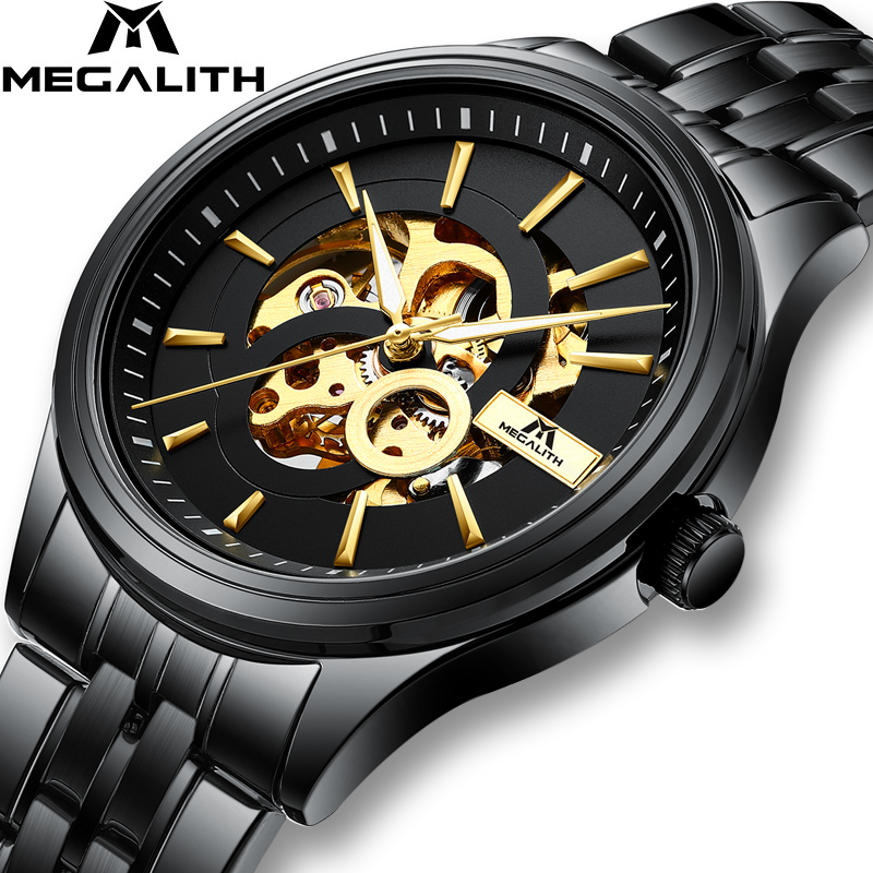 MEGALITH Fashion Sport Mens Watches Automatic Mechanical Watch Clock Black Steel Strap Casual Business Wristwatch Relojes