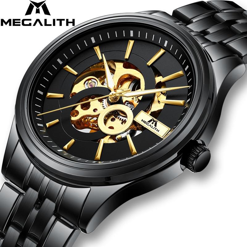 MÉGALITHE Mode Sport Hommes Montres Montre Mécanique Automatique Horloge Bracelet Acier Noir décontracté Affaires Montre-Bracelet Relojes Hombre