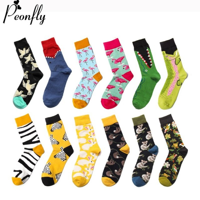PEONFLY Fashion Cartoon Animals Cute Zebra Flamingo Crocodile Pattern Men Casual Novelty Funny Socks Winter Colorful Cotton Sock