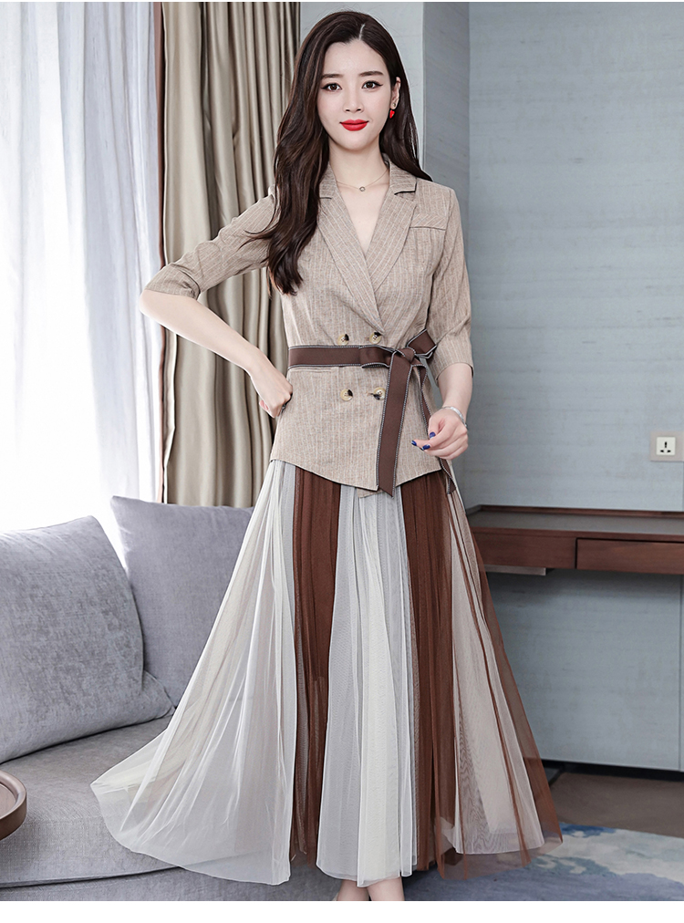 2019 Two Piece Sets Outfits Women Office Suit With Belt And Pleated Skirt Suits Vintage Korean Ladies 2 Piece Sets Femme 42