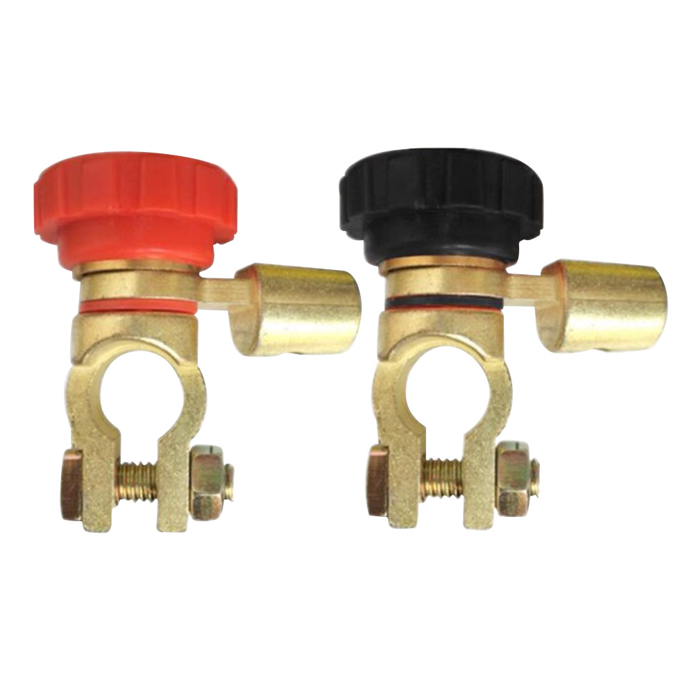 2pc Auto Battery Link Terminal Quick Cutoff Disconnect Master Kill Switch Brass