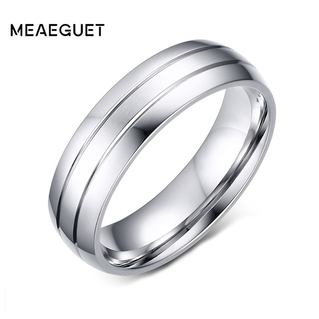 Meaeguet 6mm Wide Classic 2-Row Stainless Steel Rings Simple Design Men Wedding