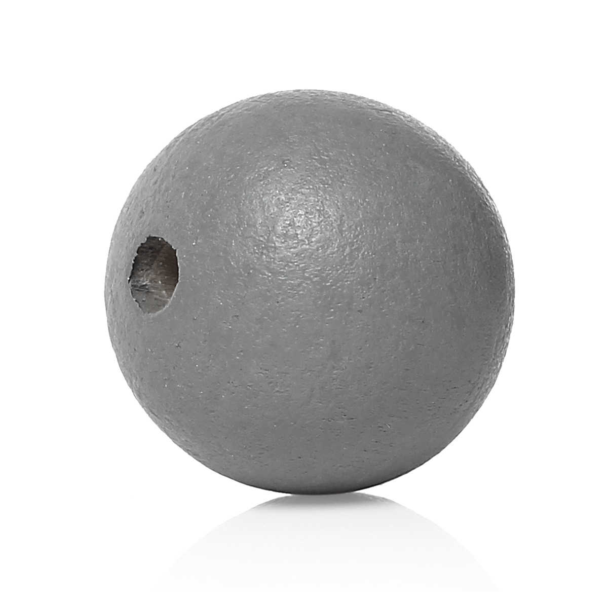 "8SEASONS Wood Spacer Beads Round Gray About 10mm( 3/8"") Dia, Hole: Approx 3mm( 1/8"") - 2.2mm( 1/8""), 300 PCs"