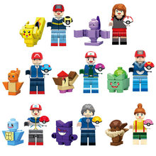 16pcs Pokemon Go Detective Pikachu Charmander Bulbasaur Squirtle Mini Toy Figure Building Block Brick Compatible with Lego(China)