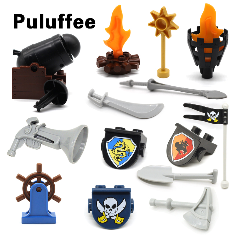 Pirate Series Cannon Torch Arms Assemble Large Bricks Compatible with Duplo Accessory Building Blocks DIY Create Toys Gifts red pirate ship blocks compatible legoingly war pirate king character action diy bricks cannon building blocks toys for children