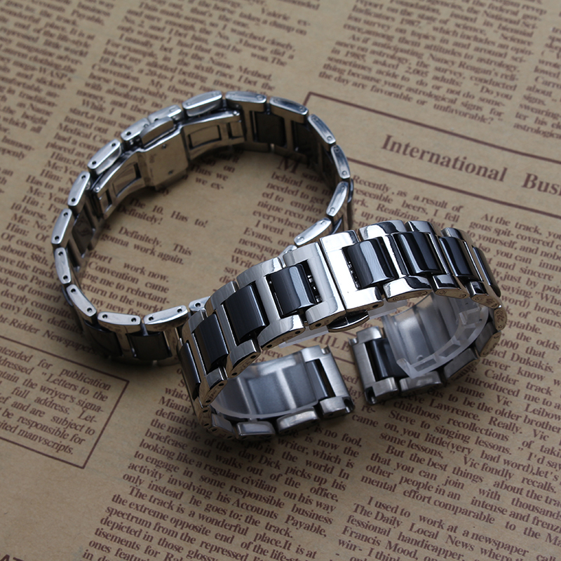 High quality Watches band Straps Bracelets 14mm 16mm 18mm 20mm 22mm Stainless steel wrap Ceramic Black Fashion Black and silver high quality watches band straps bracelets 16mm 18mm 20mm stainless steel wrap ceramic white black fashion watches band hot 2015